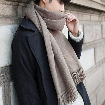 男士高档蚕丝拉绒围巾