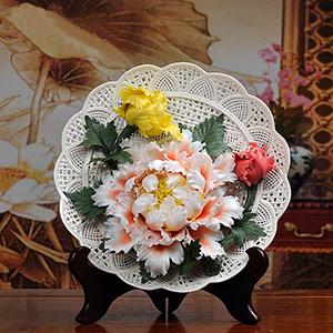 牡丹陶瓷挂盘摆件