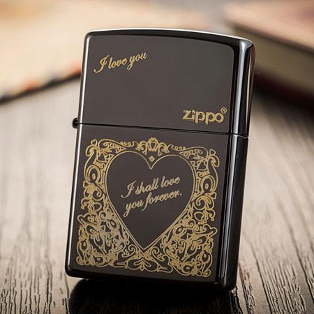ZIPPO黑冰心形打火机