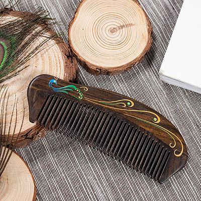 天然黑檀木描金梳子