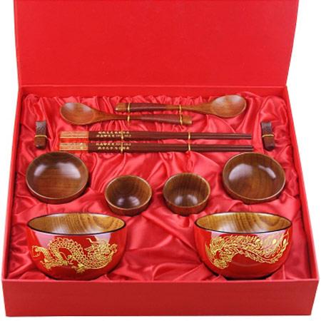 结婚龙凤碗筷套装礼盒