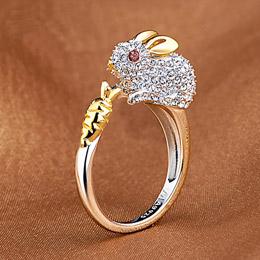 十二生肖铂金开口戒指