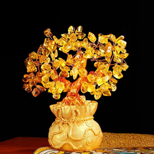 黄水晶招财树摆件