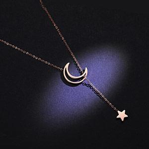 繁星伴月甜美锁骨吊坠