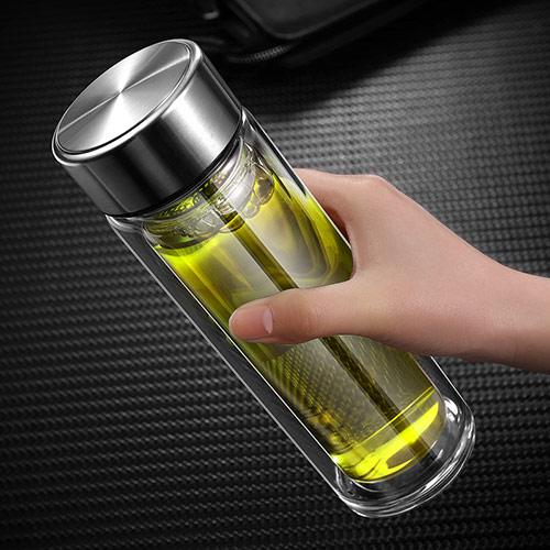 便携双层过滤玻璃杯