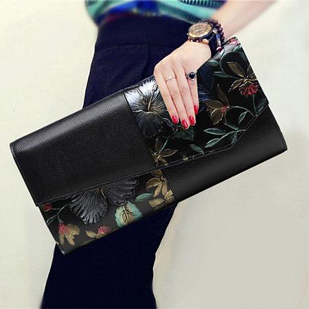 玫瑰奢华真皮手拿包