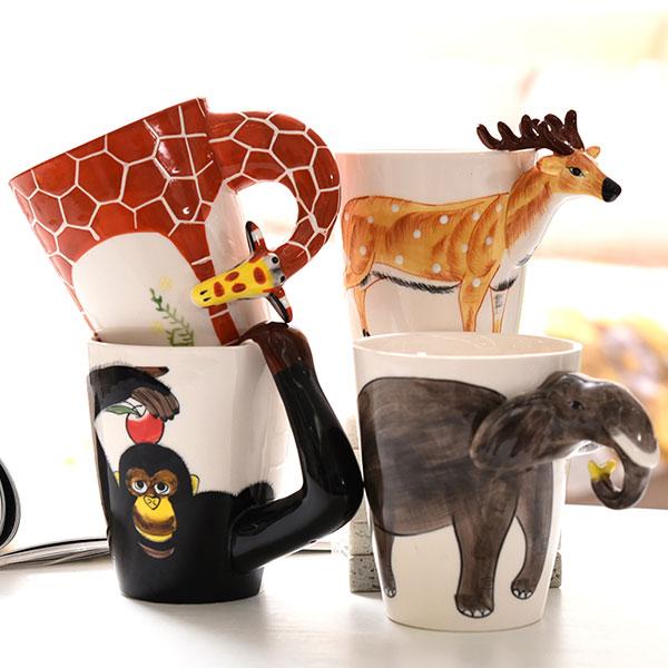 3D立体手绘动物杯