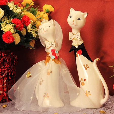 创意情侣猫咪陶瓷摆件