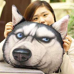 创意3D大狗头抱枕