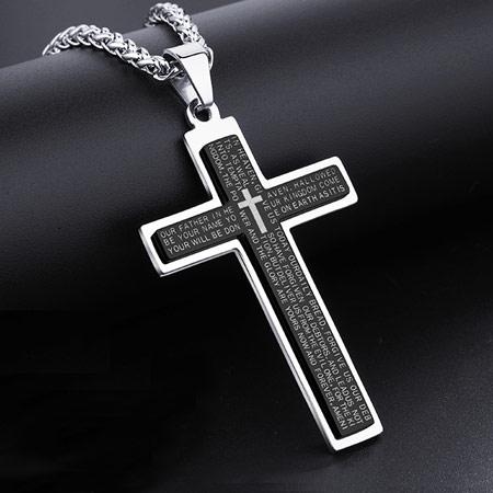 韩版钛钢十字架项链