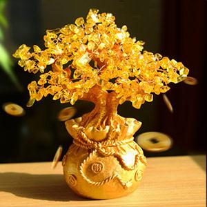 黄水晶发财树摆件