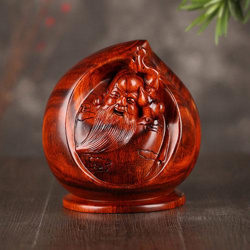 寿星公桃木木雕摆件