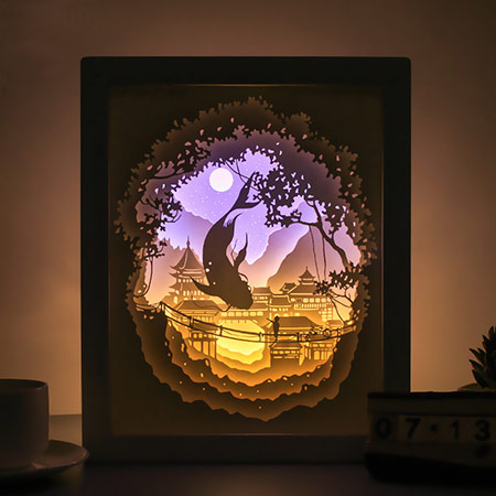 3D立体剪影纸雕灯