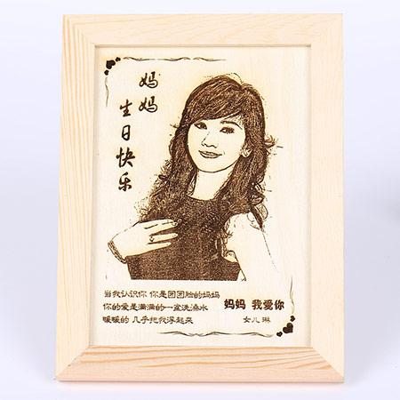 妈妈照片竹刻画定制