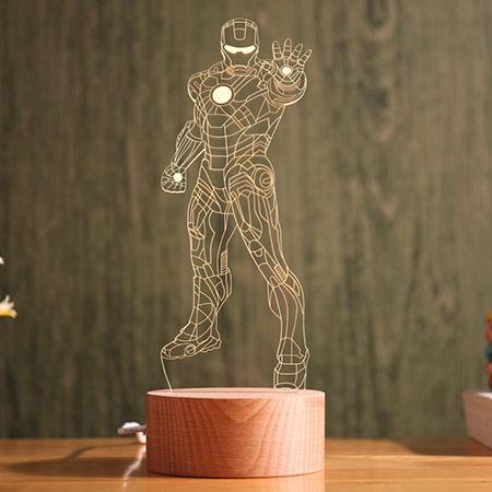 榉木刻字3D小夜灯