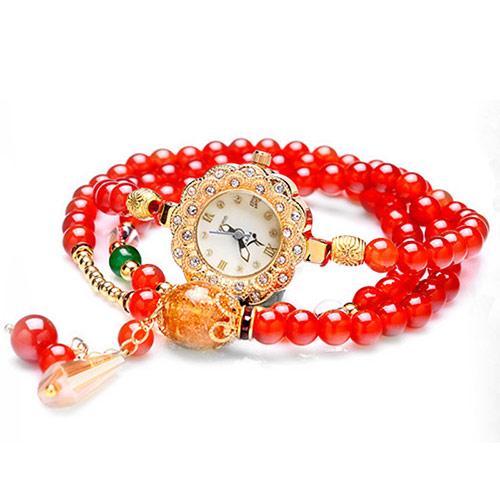 天然红玛瑙手链式手表